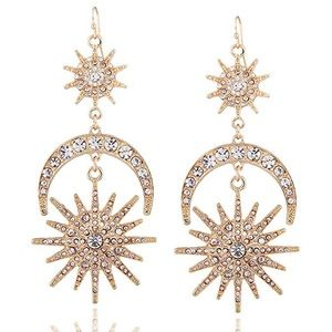 Luxury Sun Moon Stars Drop Earrings Rhinestone